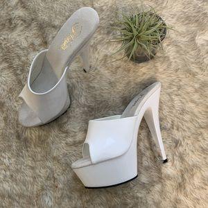 White pleaser stripper heels